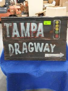 "Tampa Dragway Metal Sign 38"" x 3"""