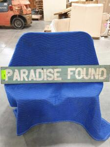 "Paradise Found Wood Sign 49"" x 8"""