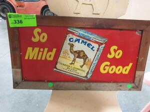"Camel Cigarette Wood Framed Ad Sign 23"" x 12"""
