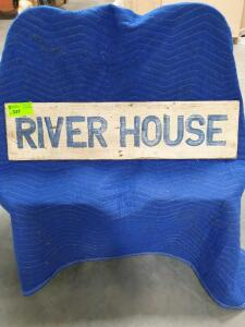 "River House wooden Sign 10"" x 32"""