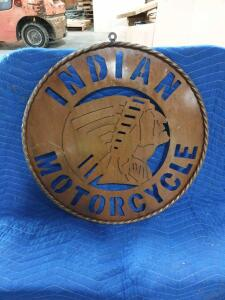 "Indian Motorcycle Brass Sign - 24"" Diameter"