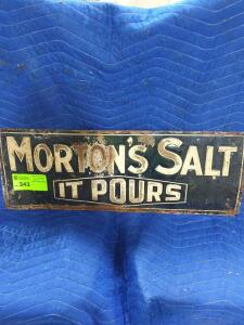 "Morton Salt Metal Sign 10"" x 24"""