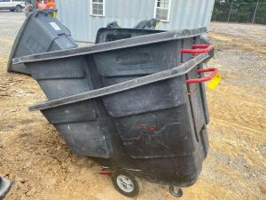 (2) Rubbermaid 1 Yard Tilt Trash Hoppers with (1) Lid