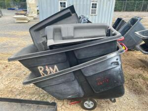 (2) Rubbermaid 1 Yard Tilt Trash Hoppers with Lids
