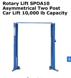 UPDATED INFORMATION Forward Rotary Hydraulic Twin Post Car Lift 10000# Capacity