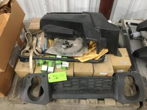 """KAWASAKI"" MODEL 600/610 NEW MULE PARTS; $2834.62 IN PARTS:GRILL,FENDERS,CONVERTERS,GASKETS: LIST OF ITEMS ON PALLET"