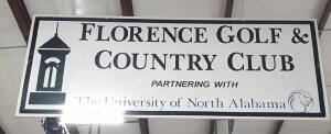 "Florence Golf and Country Club Metal over Corrugated 2 sided sign 8' wide x 3'6"" tall +/- dimensions"