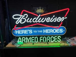 "Budweiser Here's to the Heroes Armed Forces Neon Lighted Sign 32"" W x 21"" H"
