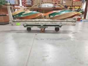 "Vintage Cart with large Christmas Ornaments (2). Cart approximately 12"" w x 84"" L Ornaments are 48"" +/-"