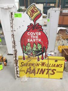 "Vintage Sherwin Williams Paints ""Cover the Earth"" Metal Sign 33"" +/- W x 48"" +/- H 2 sided metal sign"