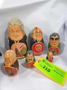 Set of (6) Wooden Russian/Soviet leader Russian stacking dolls