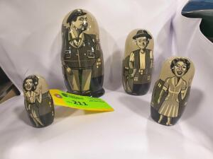 Set of (4) Laurel & Hardy Wooden Stacking Dolls