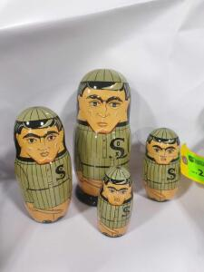 Set of (4) Shoeless Joe Jackson Wooden Stacking Dolls