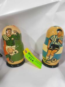 Set of Ireland & Argentina Soccer Wooden Stacking Dolls