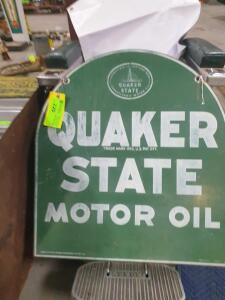 "Quaker State 2 sided metal sign 26-1/2"" W x 29"" H +/-"