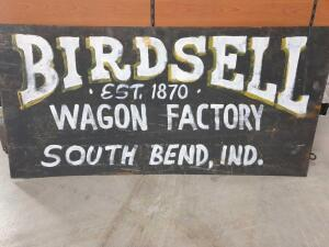 "Replica Birdsell Wagon Factory on Old Metal Sign 37"" x 18"" +/-"