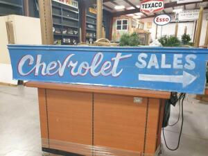 "Replica Chevrolet Sales Sign on Tin 64"" x 13"" +/-"