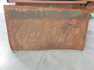 "Vintage Coca Cola Metal Sign 57"" x 34"" +/- dimensions"