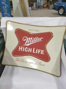 "Miller High Life Sign - Replica - Metal 20"" x 16"" +/- dimensions"