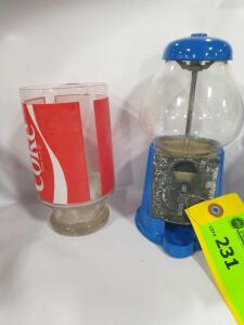"Bubble gum Dispenser (9"" tall +/-) and Coca Cola Glass"