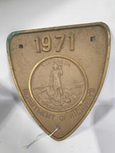 1971 Virginia Highway Sign - appears to be brass