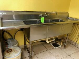 3 Compt. S.S. Sink w/ 2 Drainboards