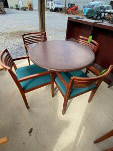Round Wooden Table with 4 Chairs