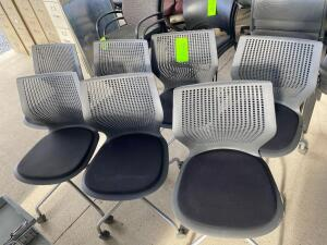 Lot- 7 Matching Rolling Chairs