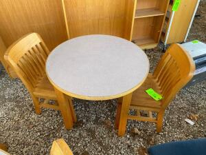Round Wooden Table with 2 Wooden Chairs