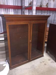 "2 door Glass Front Wooden Storage Cabinet 37"" x 39"" x 14"""