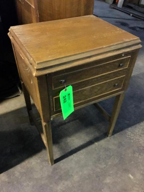 Lot 242 of 649: Antique Sewing Cabinet with Domestic Sewing Machine - Antique Sewing Cabinet With Domestic Sewing Machine