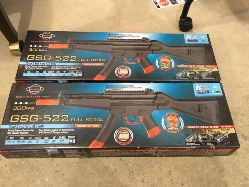 2) GSG-522 Full Stock Battery Powered Soft Air BB Gun- Plastic