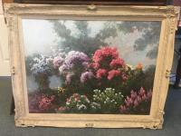 Framed and Signed Flower Scene Painting on Canvas - Max Gestel