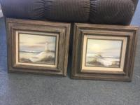 (2) Framed and Signed Small Paintings of Lighthouse and Beach - K. Harison
