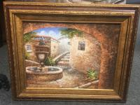 Framed Fountain Painting on Canvas