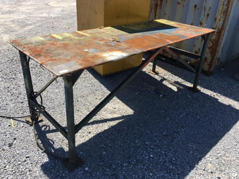 Lot 59 Of 533: HD Metal Work Table   7.5ftx3ft